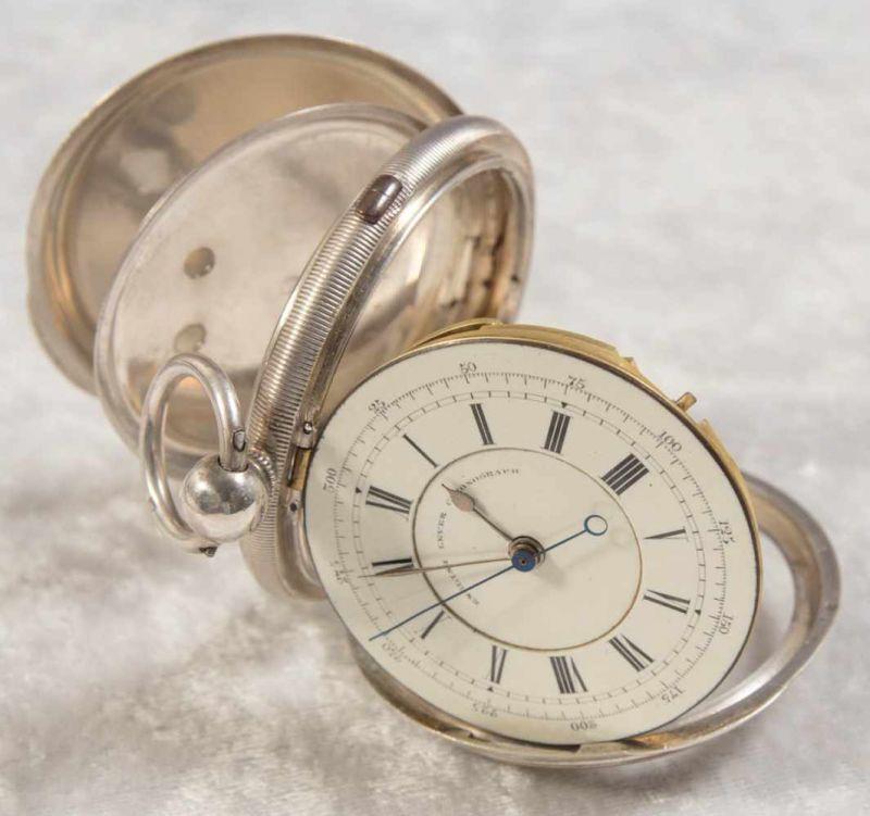 """""""English Lever Chronograph"""", Gehäuse in 925er Sterlingsilber, Werk & Gehäuse nummerngleich (No. - Image 5 of 12"""