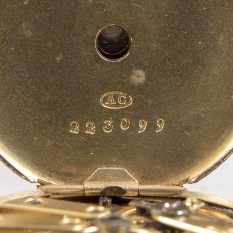Antike Halbsavonette-Taschenuhr, guillochiertes, flaches Gehäuse wohl Gold (ungepunzt). - Image 6 of 9