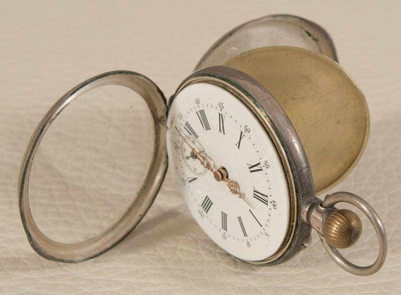 """2 alte/antike Taschenuhren, Silber, 1 x bez.: """"Hermann Krüsken - Aachen."""" Werke nicht auf - Image 11 of 17"""