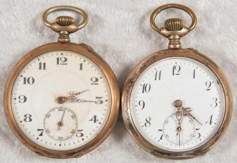 2 alte/antike Taschenuhren. Silbergehäuse, ungeprüft.