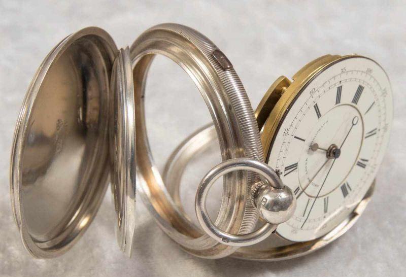"""""""English Lever Chronograph"""", Gehäuse in 925er Sterlingsilber, Werk & Gehäuse nummerngleich (No. - Image 2 of 12"""