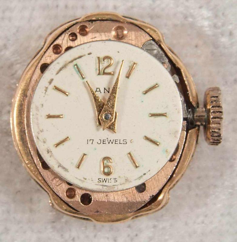 """Ringuhr, 750er Gelbgold, Ziffernblatt bez. """"ANY"""" - 17 Jewels, Handaufzug, Werk läuft an, nicht auf - Image 7 of 7"""