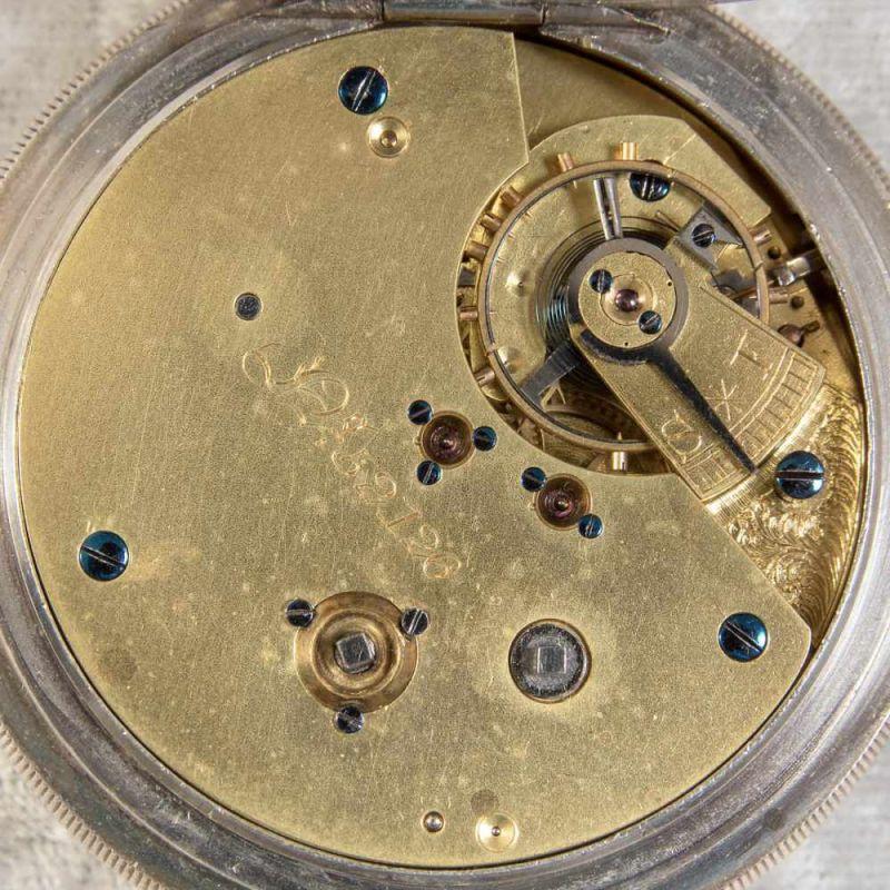 """""""English Lever Chronograph"""", Gehäuse in 925er Sterlingsilber, Werk & Gehäuse nummerngleich (No. - Image 9 of 12"""