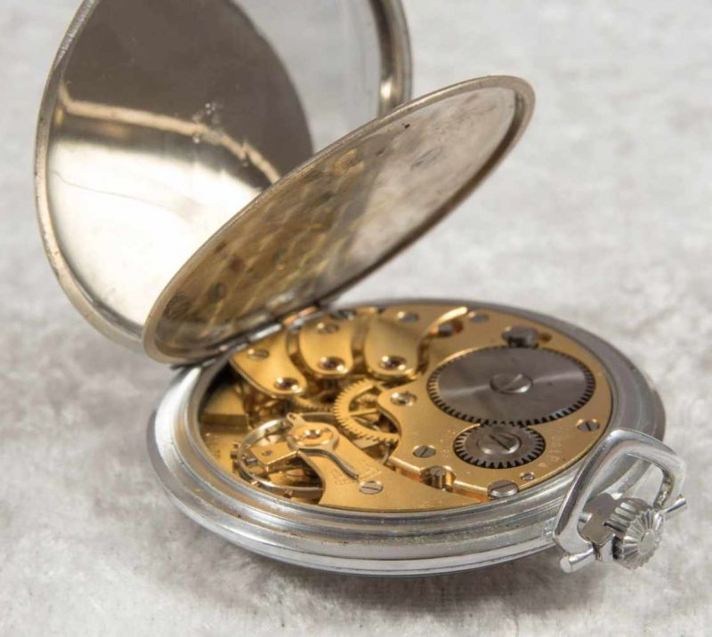 Zentra Halbsavonette Herrentaschenuhr, vernickeltes Gehäuse, Durchmesser ca. 50 mm, Werk ohne - Image 3 of 7
