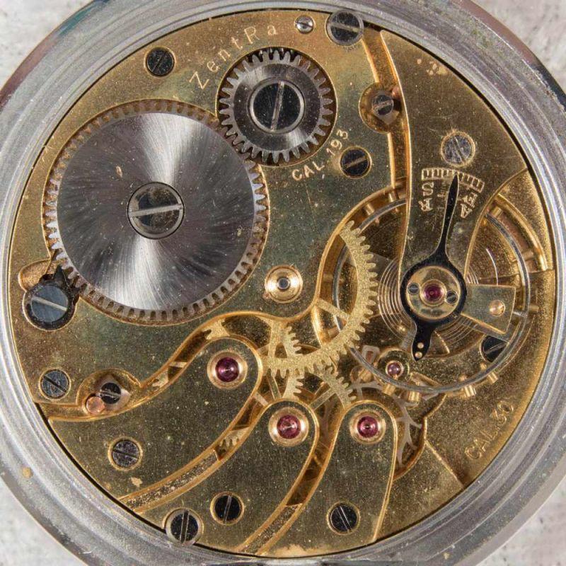Zentra Halbsavonette Herrentaschenuhr, vernickeltes Gehäuse, Durchmesser ca. 50 mm, Werk ohne - Image 5 of 7