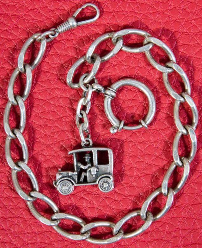 """Silberne Taschenuhrenkette/Gliederkette mit """"Automobil""""-Anhänger, Länge ca. 28 cm, ca. 38 gr."""