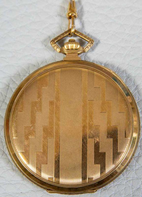 OMEGA Sprungdeckeltaschenuhr, 585er/14K Gelbgoldgehäuse & Uhrenkette. Brutto ca. 79 gr. Werk läuft - Image 7 of 9