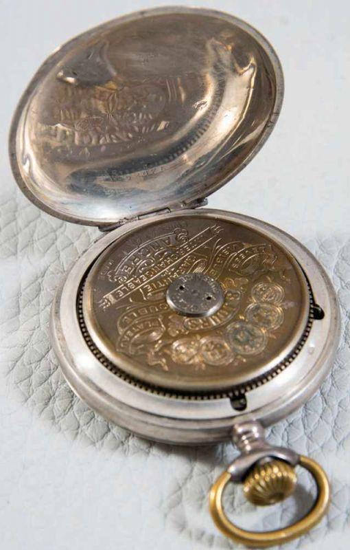 """""""HEBDOMAS - 8 JOURS"""" - SAVONETTE Herrentaschenuhr in 800er Silber, Porzellanziffernblatt mit arab. - Image 3 of 7"""