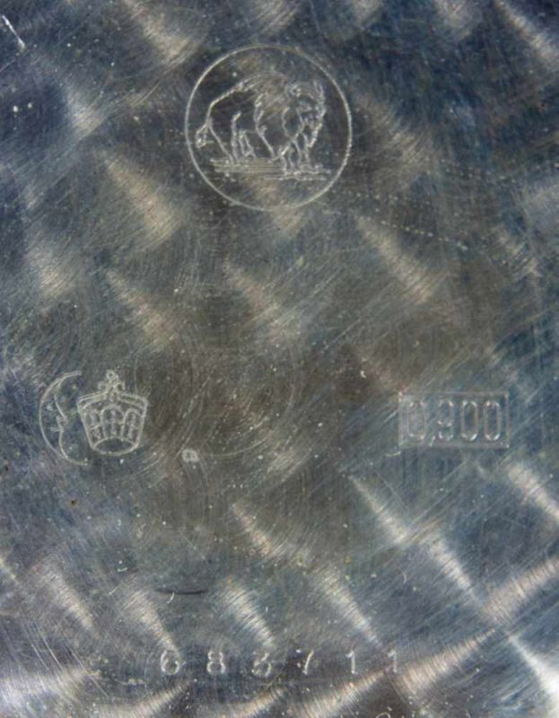Flache Halbsavonette-Herrentaschenuhr, Gehäuse in 900er Silber, Staubdeckel lässt sich nicht öffnen, - Image 3 of 4