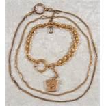 3versch. alte/antike, vergoldete Taschenuhrenketten. Versch. Alter, Längen & Erhalt.