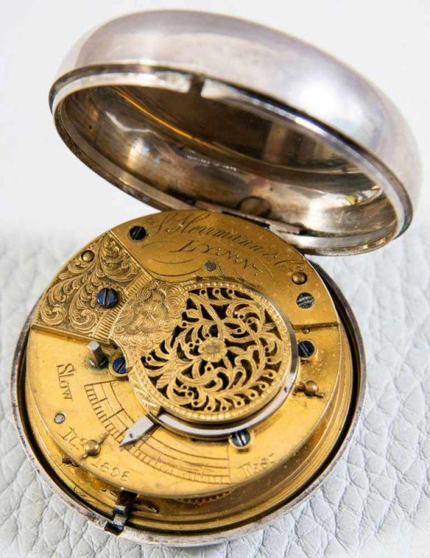 Antike, englische Spindeltaschenuhr, Gehäusedurchmesser ca. 52 mm, Gehäuse & Übergehäuse in 925er - Image 2 of 10