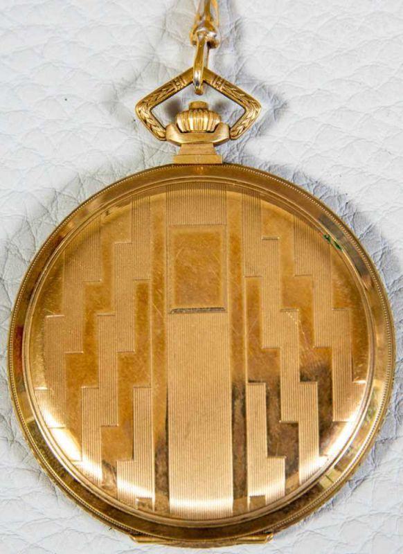 OMEGA Sprungdeckeltaschenuhr, 585er/14K Gelbgoldgehäuse & Uhrenkette. Brutto ca. 79 gr. Werk läuft - Image 8 of 9