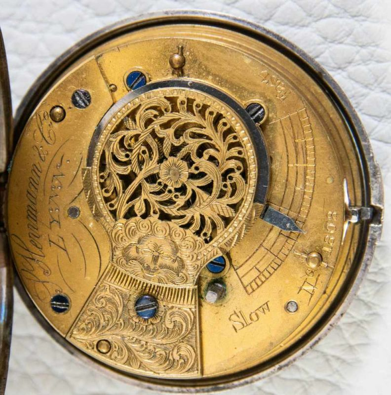 Antike, englische Spindeltaschenuhr, Gehäusedurchmesser ca. 52 mm, Gehäuse & Übergehäuse in 925er - Image 3 of 10