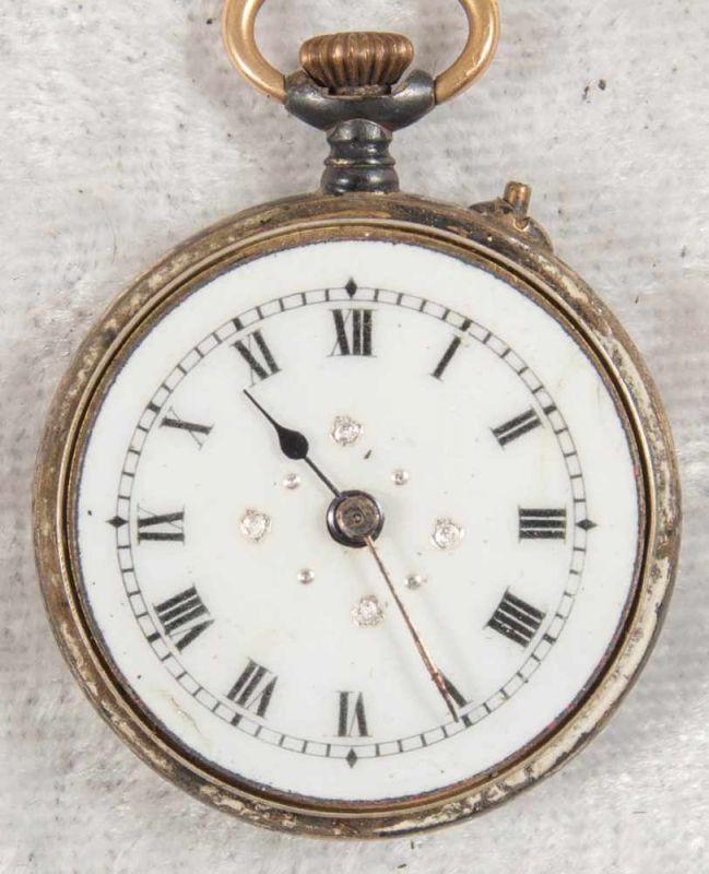 2 alte/antike Damen-Schmucktaschenuhren, ungeprüft, 1 x mit transluzidem Emaille-Dekor. - Image 9 of 13