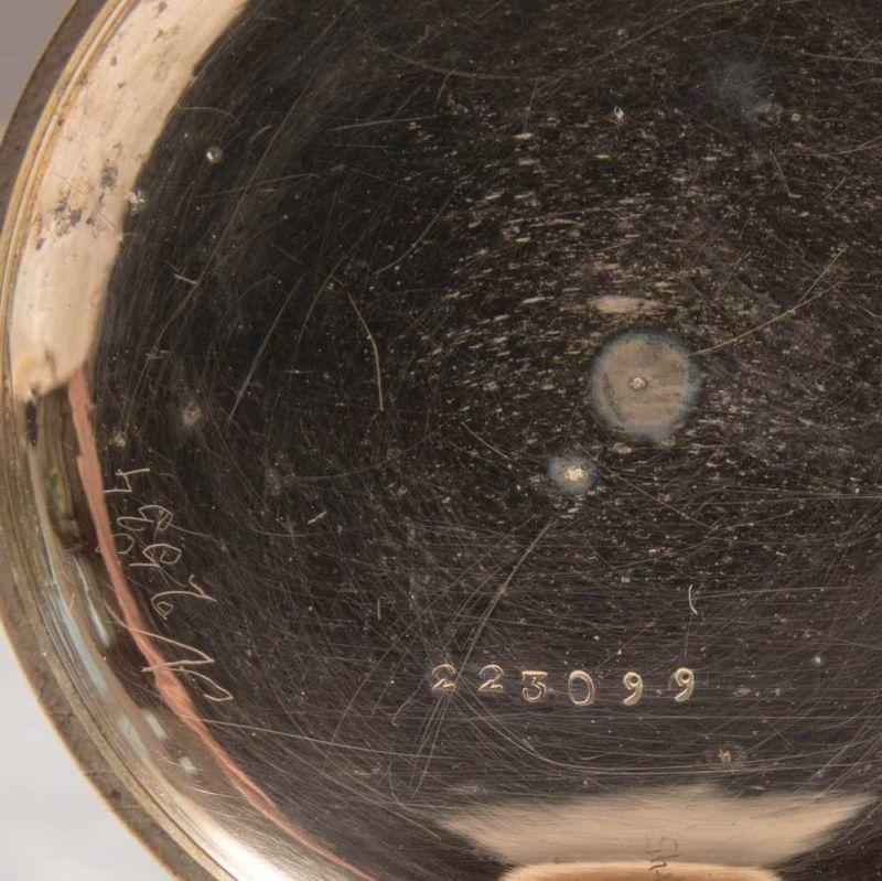 Antike Halbsavonette-Taschenuhr, guillochiertes, flaches Gehäuse wohl Gold (ungepunzt). - Image 8 of 9