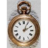 Antike Damentaschenuhr um 1890/1900, Gold?. Gehäusedurchmesser ca. 30 mm. Floral verzierter