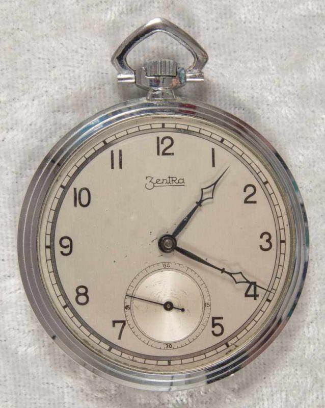 Zentra Halbsavonette Herrentaschenuhr, vernickeltes Gehäuse, Durchmesser ca. 50 mm, Werk ohne
