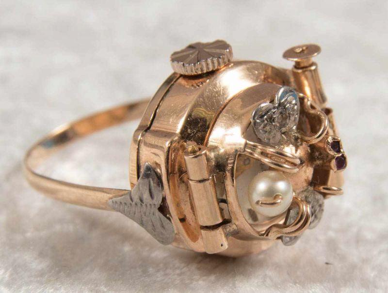 """Ringuhr, 750er Gelbgold, Ziffernblatt bez. """"ANY"""" - 17 Jewels, Handaufzug, Werk läuft an, nicht auf - Image 3 of 7"""
