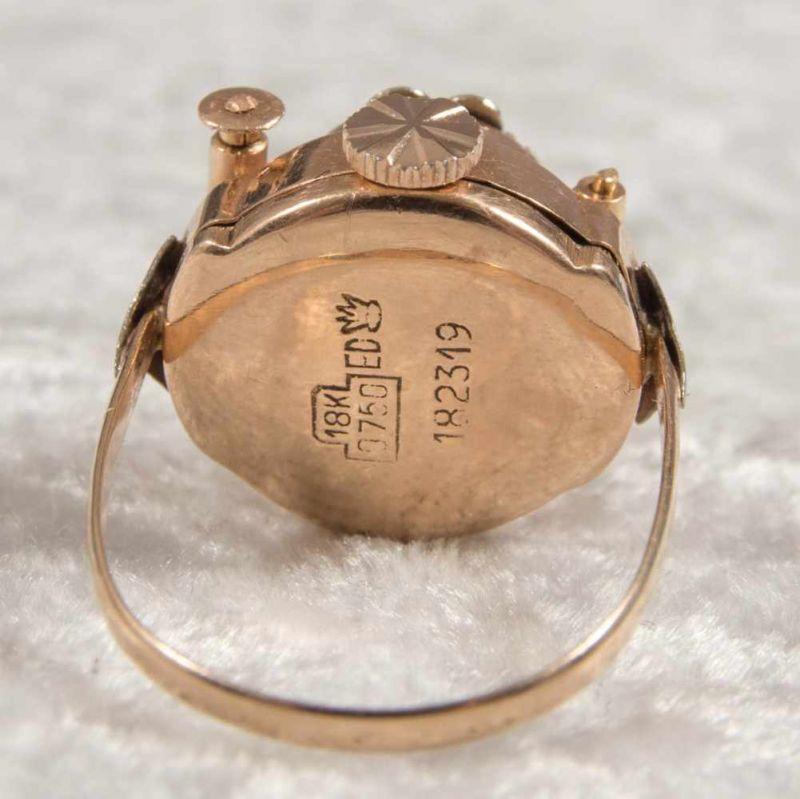 """Ringuhr, 750er Gelbgold, Ziffernblatt bez. """"ANY"""" - 17 Jewels, Handaufzug, Werk läuft an, nicht auf - Image 5 of 7"""