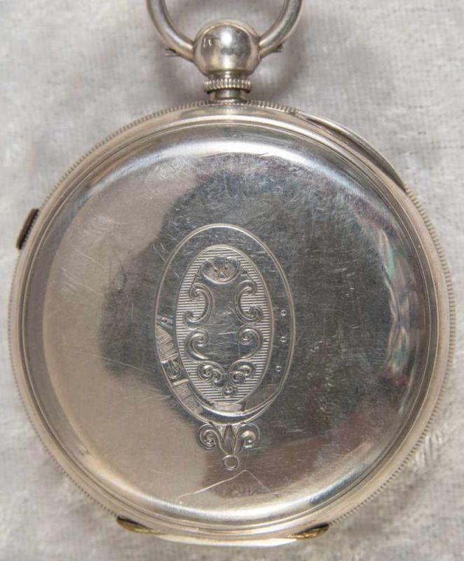 """""""English Lever Chronograph"""", Gehäuse in 925er Sterlingsilber, Werk & Gehäuse nummerngleich (No. - Image 4 of 12"""