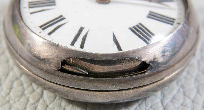 Antike, englische Spindeltaschenuhr, Gehäusedurchmesser ca. 52 mm, Gehäuse & Übergehäuse in 925er - Image 6 of 10