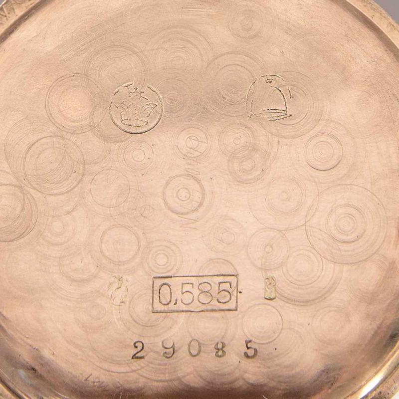 Goldene Halbsavonette Damentaschenuhr, glattes 585er Gelbgoldgehäuse, Durchmesser ca. 30 mm, ca. - Image 5 of 7