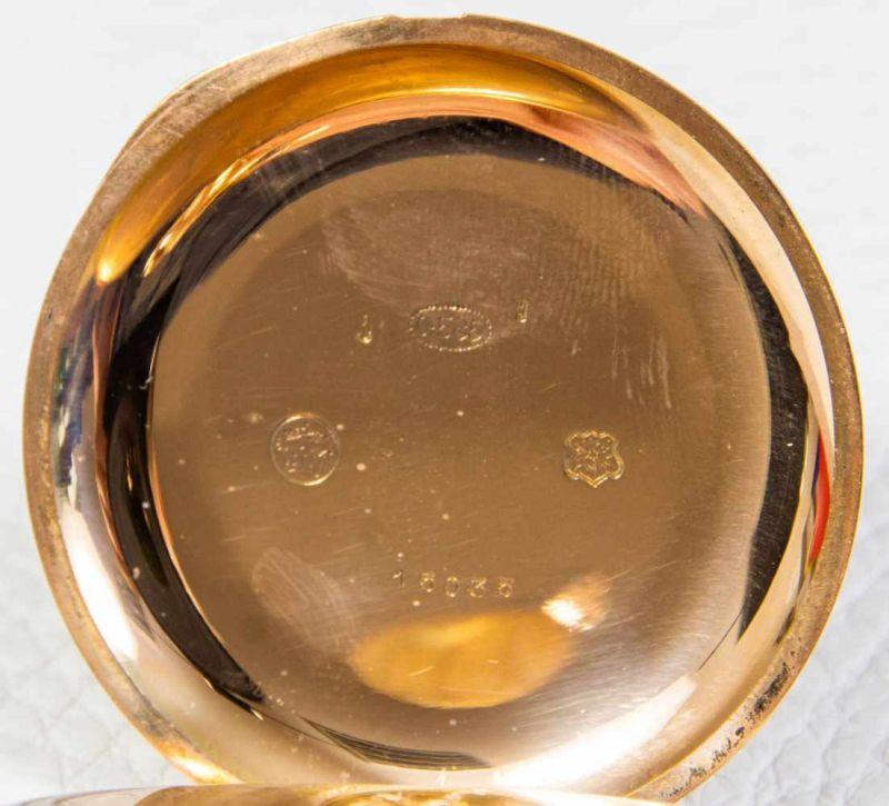 Große 585er/14K Gelbgold Sprungdeckel Herrentaschenuhr, brutto ca. 108 gr. Gehäusedurchmesser ca. 54 - Image 5 of 8