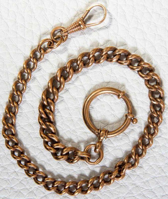 333 Gelbgold Taschenuhrenkette/Gliederkette, Länge ca. 32 cm. Ca. 30 gr.