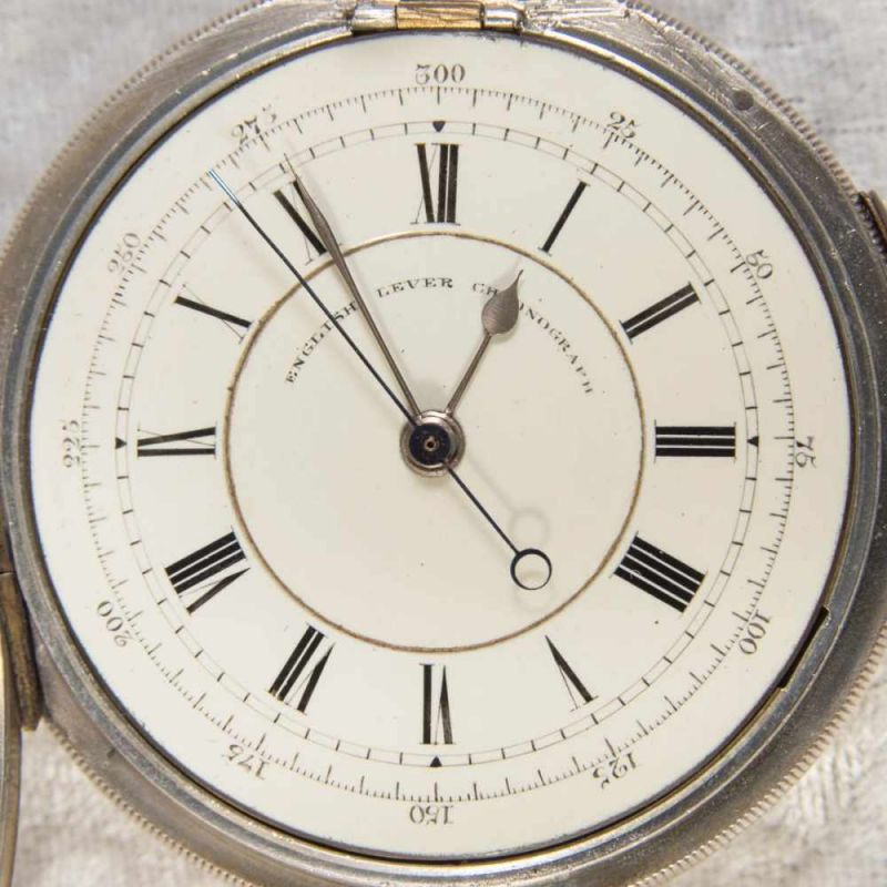 """""""English Lever Chronograph"""", Gehäuse in 925er Sterlingsilber, Werk & Gehäuse nummerngleich (No. - Image 6 of 12"""