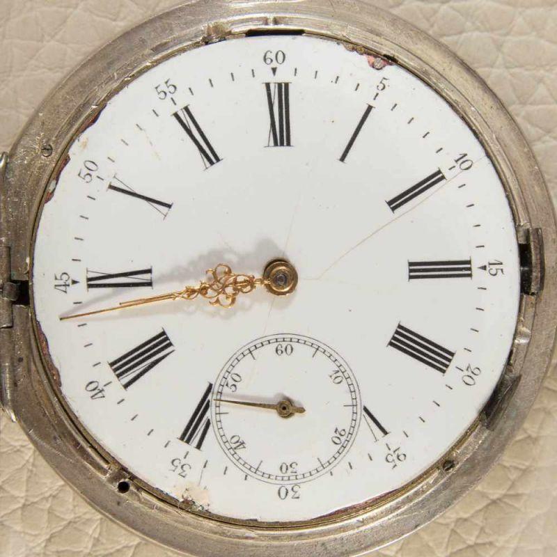 Lot 5839 - Silberne Repetitions-Savonette Herrentaschenuhr mit Viertelstundenschlagwerk. 84 Zolotnik/875er