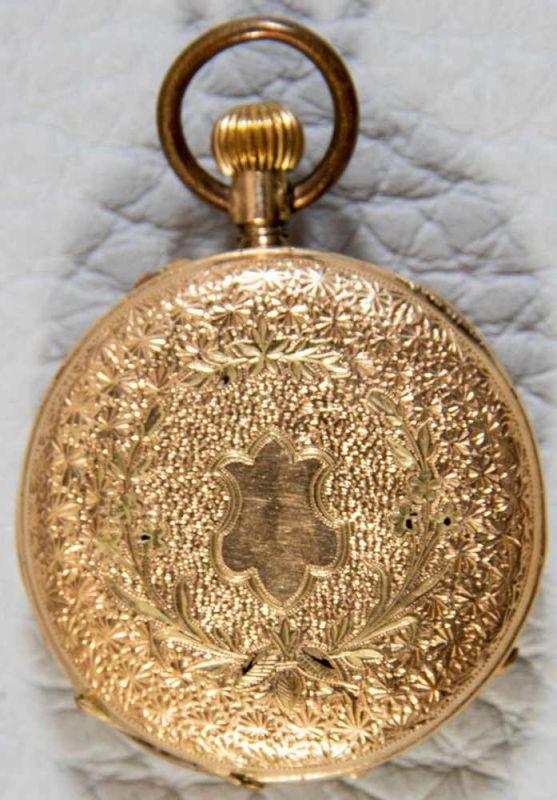 Lot 5835 - Goldene Damentaschenuhr, 585er Gelbgoldgehäuse mit aufwändigem, floralem Gravurdekor, Durchmesser