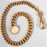 585er Gelbgold Herrentaschenuhrkette, Gliederkette, sehr schöner Erhalt, Länge ca. 24 cm, ca. 31 gr.