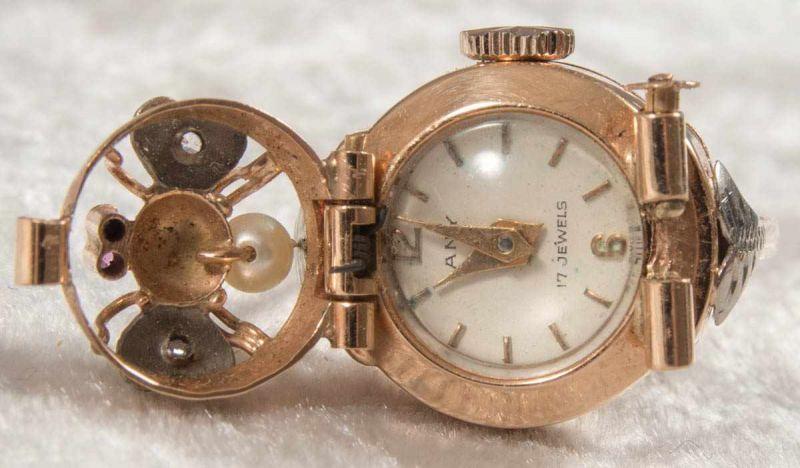 """Ringuhr, 750er Gelbgold, Ziffernblatt bez. """"ANY"""" - 17 Jewels, Handaufzug, Werk läuft an, nicht auf - Image 6 of 7"""