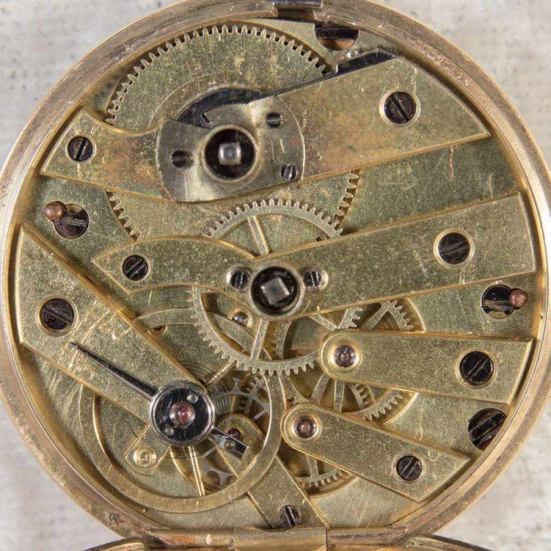 Antike Halbsavonette-Taschenuhr, guillochiertes, flaches Gehäuse wohl Gold (ungepunzt). - Image 5 of 9