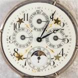 Antike Herrentaschenuhr um 1900/20. 800er Silbergehäuse, teilvergoldet. Ziffernblatt mit Anzeigen