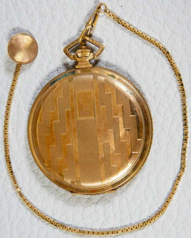 OMEGA Sprungdeckeltaschenuhr, 585er/14K Gelbgoldgehäuse & Uhrenkette. Brutto ca. 79 gr. Werk läuft - Image 9 of 9