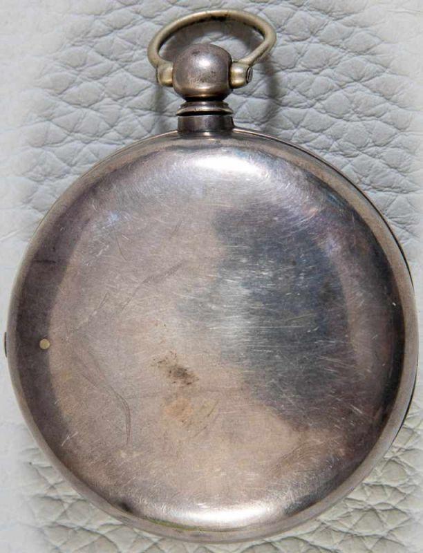 Antike, englische Spindeltaschenuhr, Gehäusedurchmesser ca. 52 mm, Gehäuse & Übergehäuse in 925er - Image 10 of 10