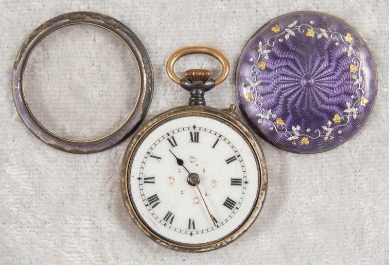 2 alte/antike Damen-Schmucktaschenuhren, ungeprüft, 1 x mit transluzidem Emaille-Dekor. - Image 8 of 13