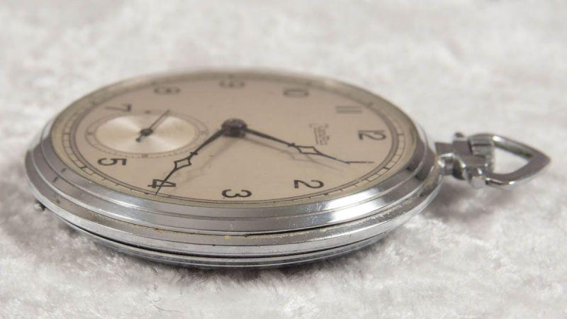 Zentra Halbsavonette Herrentaschenuhr, vernickeltes Gehäuse, Durchmesser ca. 50 mm, Werk ohne - Image 2 of 7