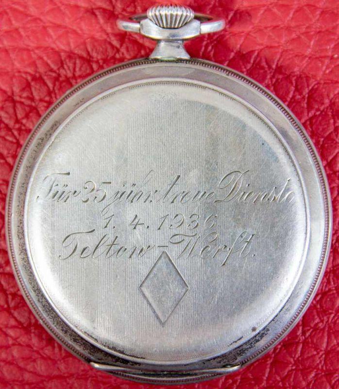Flache Halbsavonette-Herrentaschenuhr, Gehäuse in 900er Silber, Staubdeckel lässt sich nicht öffnen, - Image 4 of 4