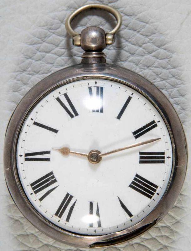 Antike, englische Spindeltaschenuhr, Gehäusedurchmesser ca. 52 mm, Gehäuse & Übergehäuse in 925er - Image 5 of 10