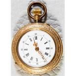 Goldene Damentaschenuhr, 585er Gelbgoldgehäuse mit aufwändigem, floralem Gravurdekor, Durchmesser