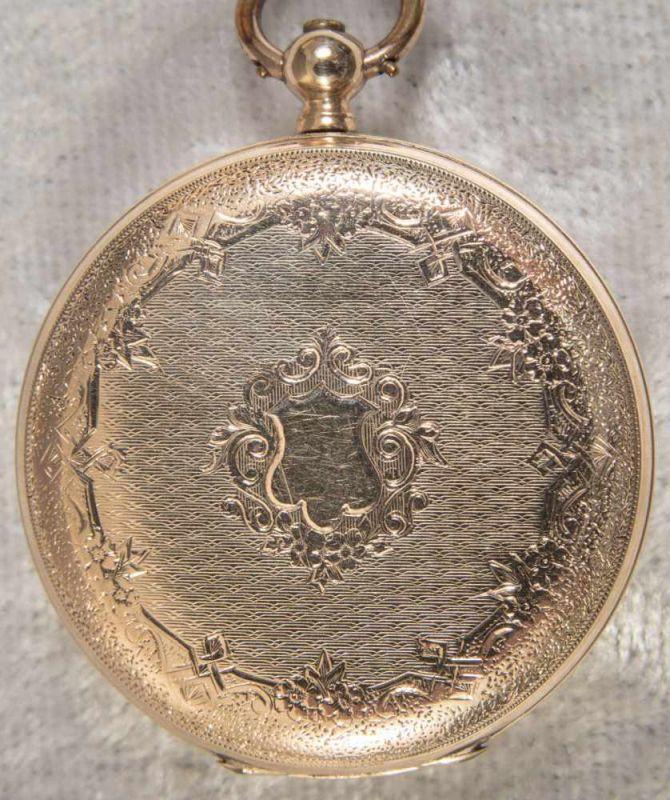 Antike Halbsavonette-Taschenuhr, guillochiertes, flaches Gehäuse wohl Gold (ungepunzt). - Image 9 of 9