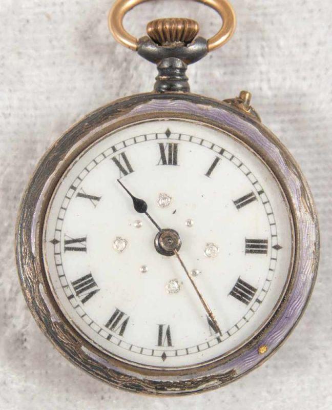 2 alte/antike Damen-Schmucktaschenuhren, ungeprüft, 1 x mit transluzidem Emaille-Dekor. - Image 2 of 13