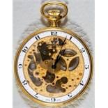"""""""Skeleton"""" - skelettierte Schweizer Herrentaschenuhr, mit sichtbarem Ankerwerk, vergoldet. Äußerer"""
