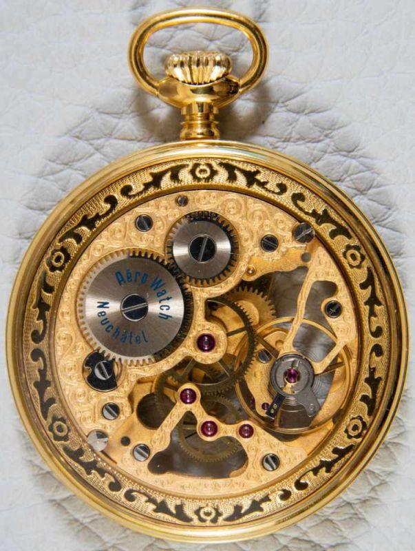 """Lot 5856 - """"Skeleton"""" - skelettierte Schweizer Herrentaschenuhr, mit sichtbarem Ankerwerk, vergoldet. Äußerer"""