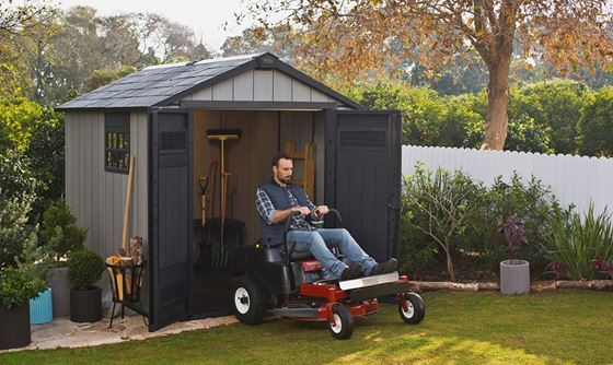 Lot 9 - As new and boxed Keter Oakland 759 shed Worry-free thanks to its ultra-rugged resin construction and