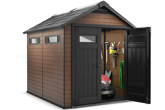 Lot 13 - As New and Boxed The Fusion 759 shed is made out of a unique wood-plastic composite and has a sturdy