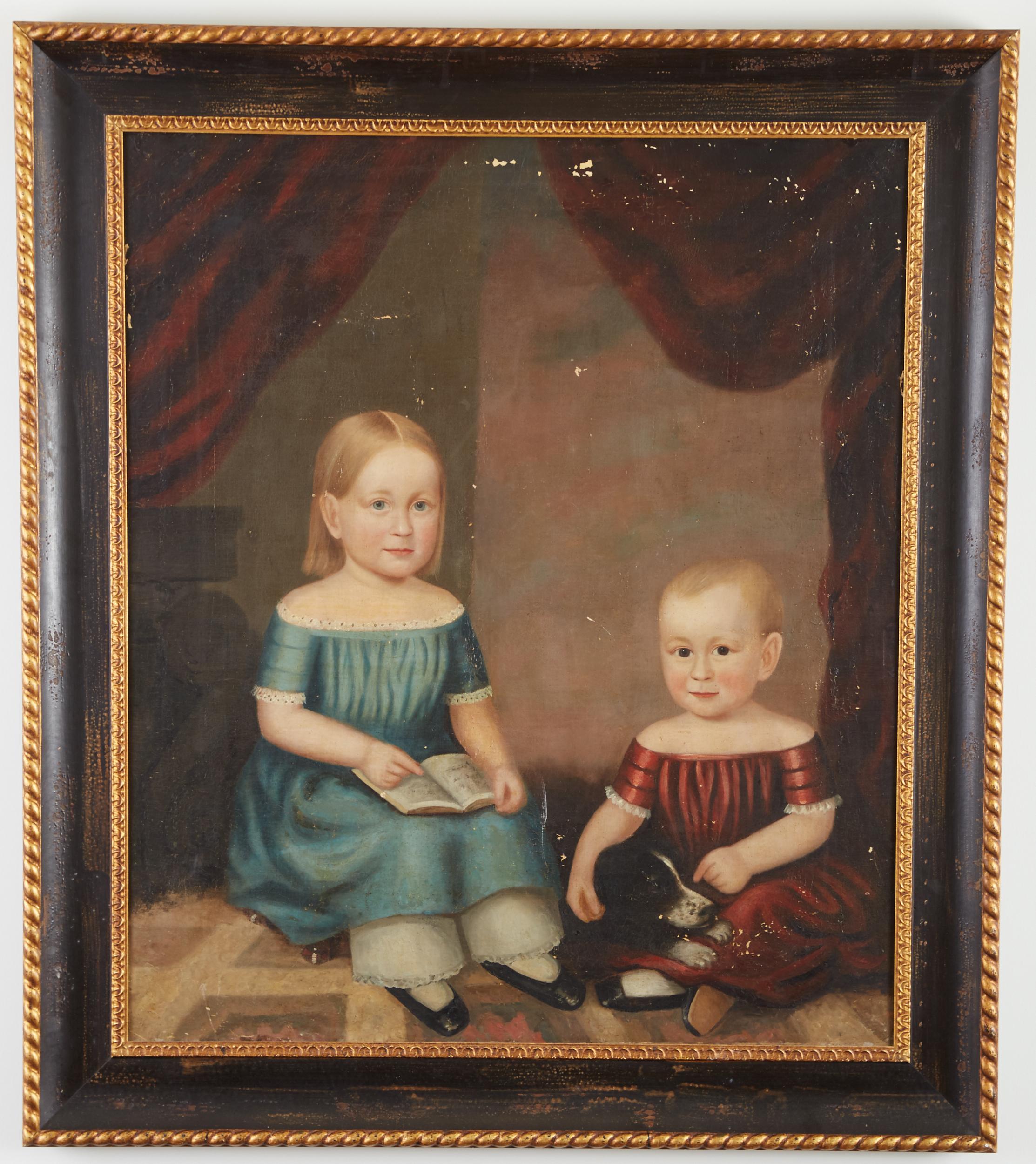 Lot 3 - 19th Century American School Folk Art Portrait Children and a Dog Unsigned