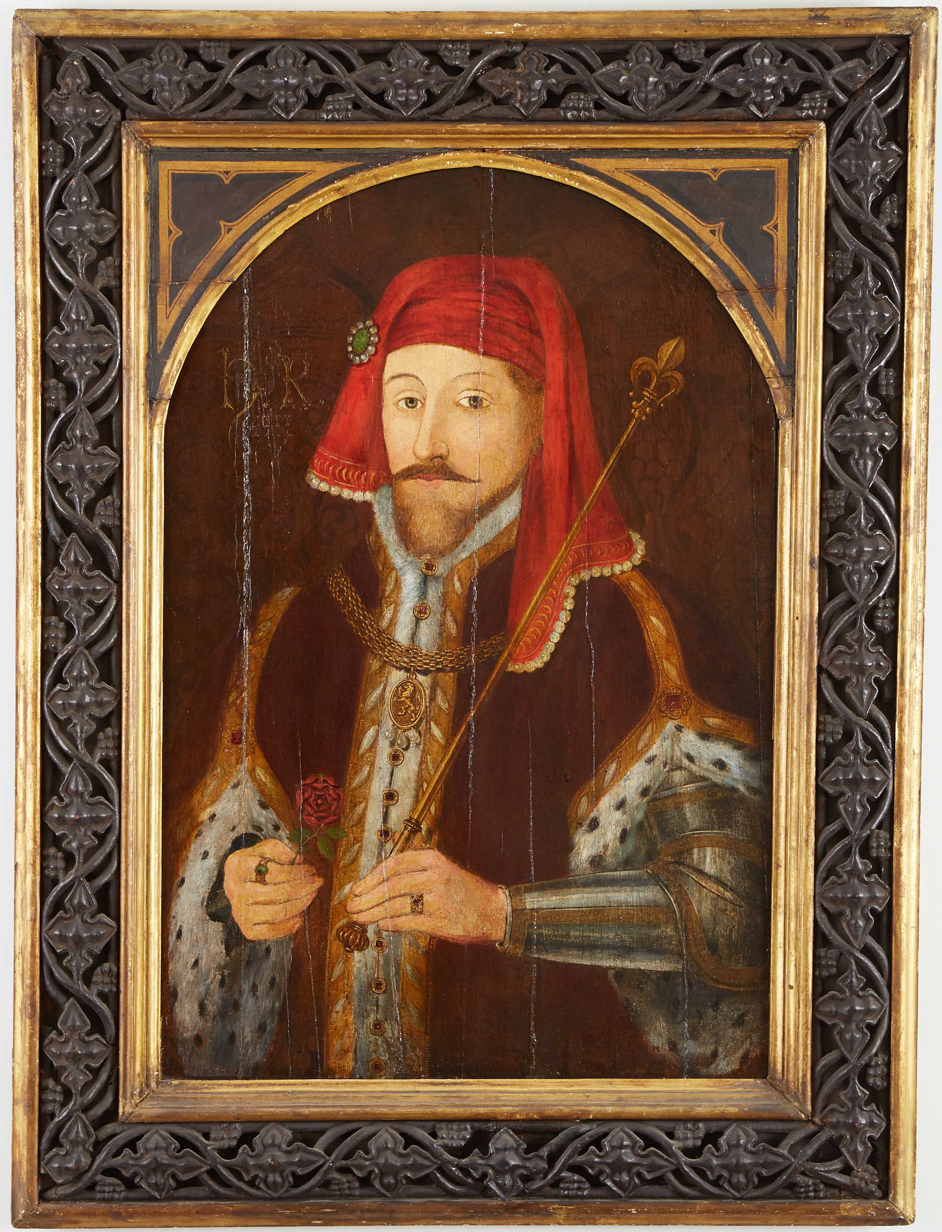 Lot 13 - 17th century English School Portrait Painting of Henry IV Oil on Panel
